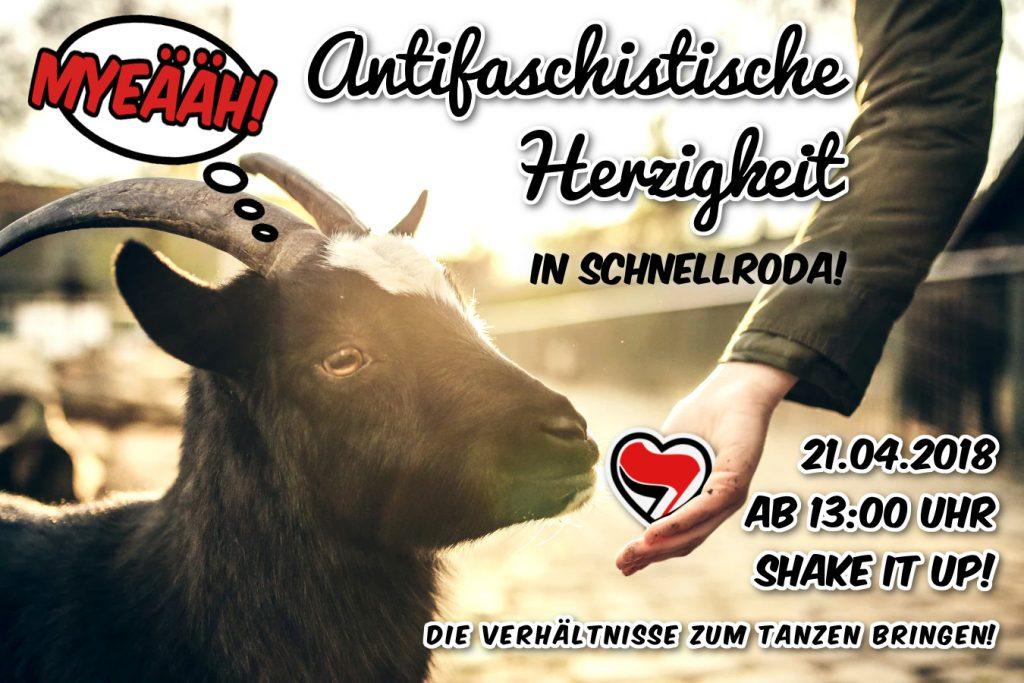 Antifaschistische Herzigkeit am 21.4.2018 in Schnellroda