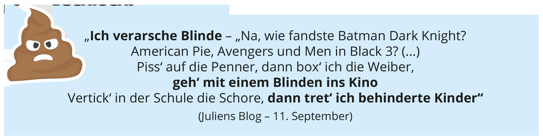 """""""Ich verarsche Blinde – """"Na, wie fandste Batman Dark Knight? American Pie, Avengers und Men in Black 3? (...) Piss' auf die Penner, dann box' ich die Weiber, geh' mit einem Blinden ins Kino Vertick' in der Schule die Schore, dann tret' ich behinderte Kinder"""" (Juliens Blog – 11. September)"""