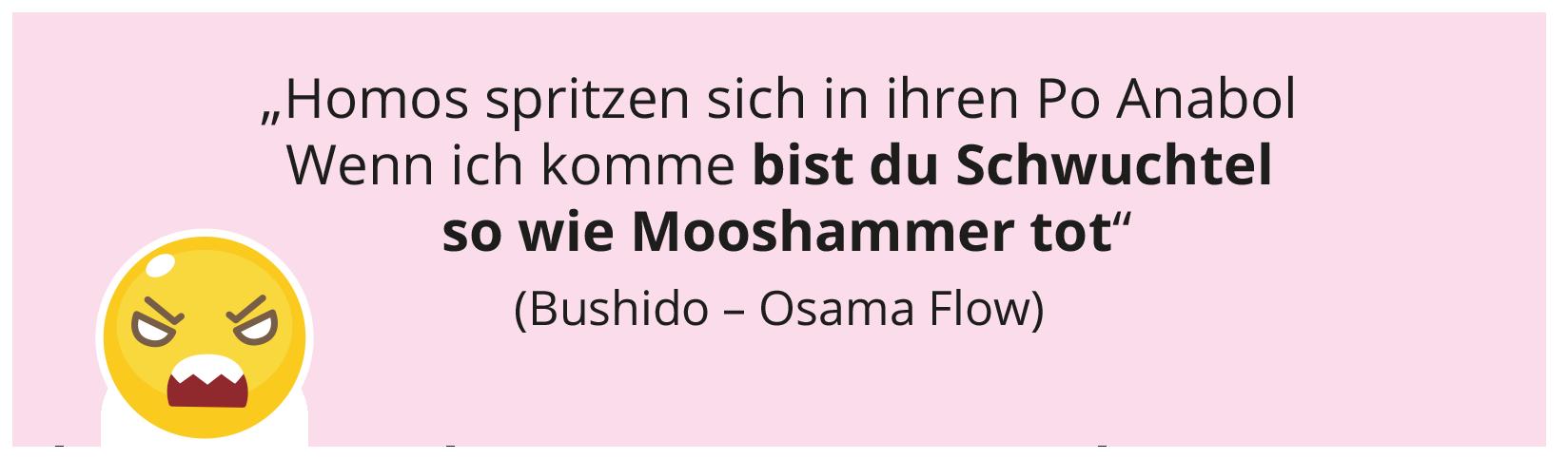 """""""Homos spritzen sich in ihren Po Anabol Wenn ich komme bist du Schwuchtel so wie Mooshammer tot"""" (Bushido – Osama Flow)"""