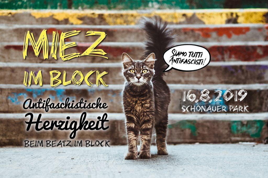 Antifaschistische Herzigkeit beim Beatz im Block 2019 am 16.8. im Schönauer Park
